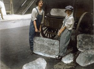 colorized photo girls with ice