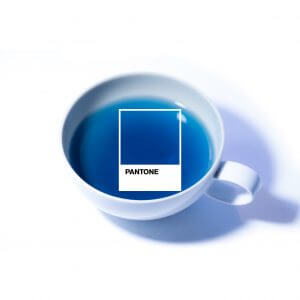 A cup of TEALEAVES vibrant blue bespoke blend created for Pantone's Color of the Year 2020.